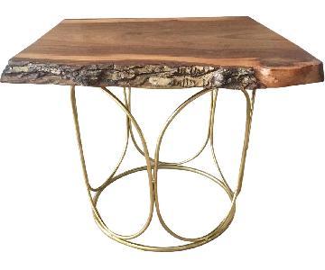Raw Edge English Elm Pedestal Coffee Table