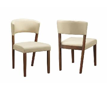 Modern Mid-Century Inspired Dining Chair w/ Padded Seat/Back & Cream Leatherette Upholstery & Wood Frame