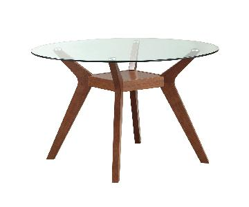 Mid-Century Style Round Tempered Glass Top Dining Table w/ M