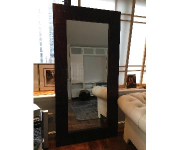Crate & Barrel Brown Woven Leather Leaning Floor Mirror
