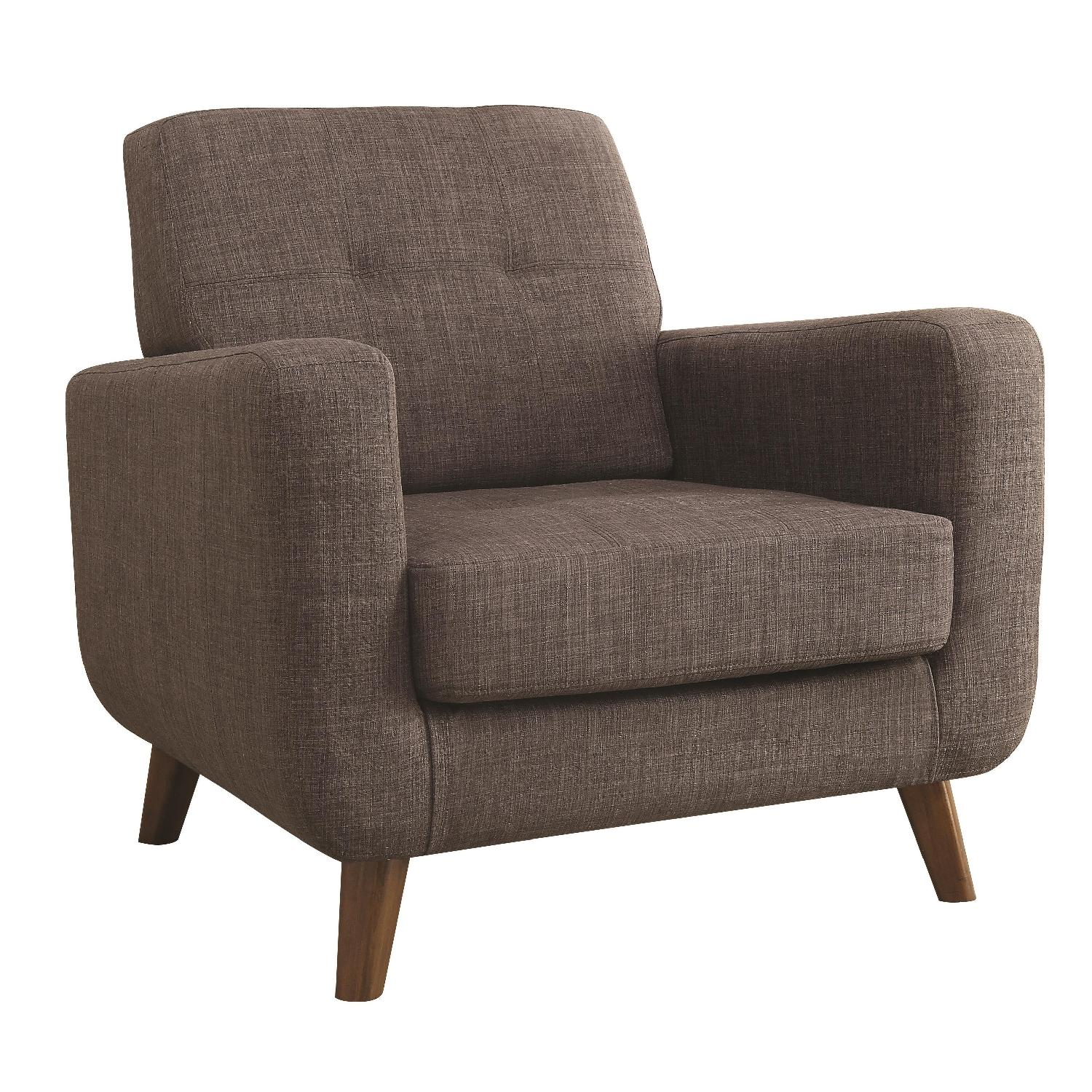 Accent Chair in Grey Fabric w/ Tufted Back Design