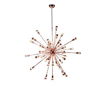 Retro Style Hanging Chandelier in Copper Finish w/ Bulbs Inc