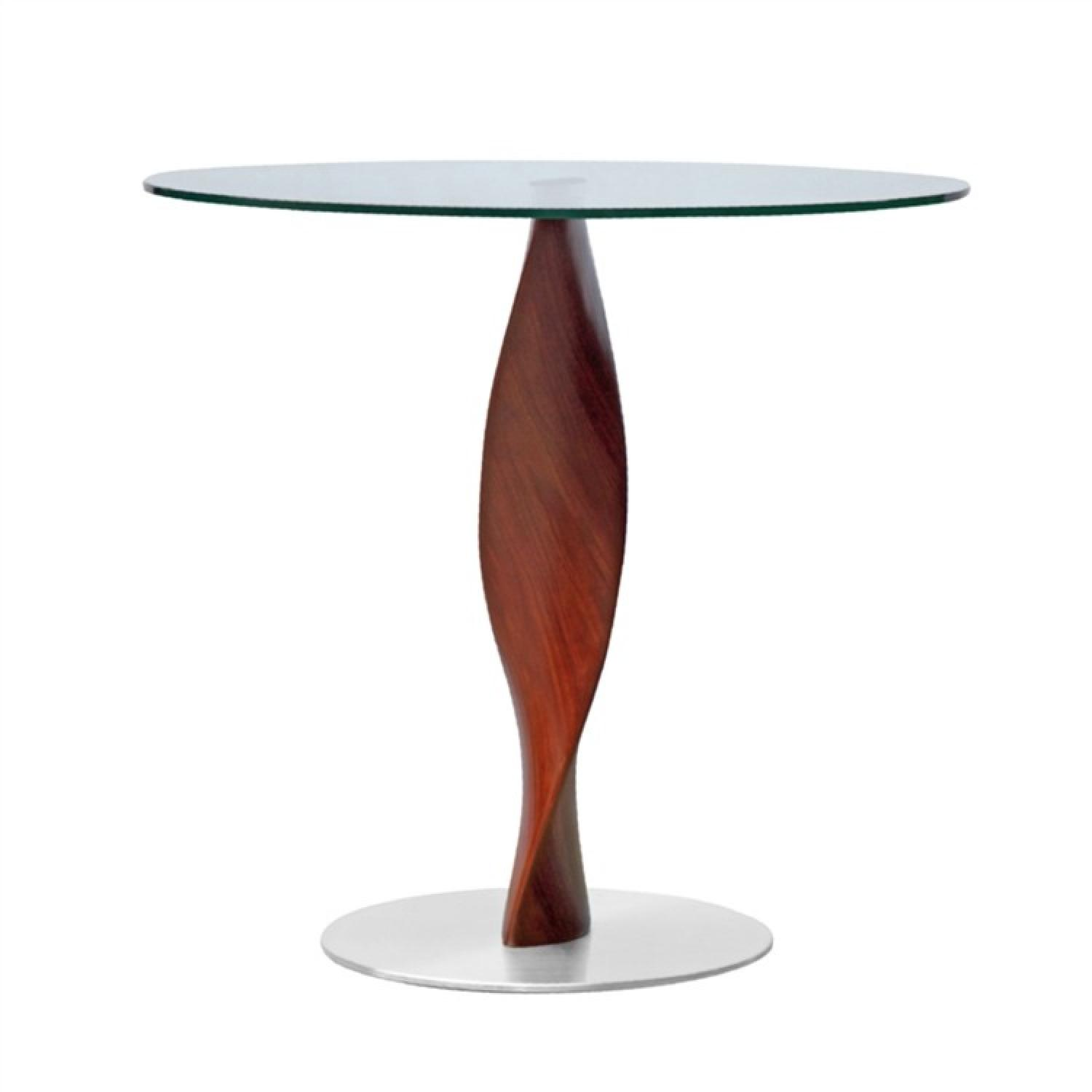 Modern round tempered glass top dining table w aptdeco - Table base for round glass top ...