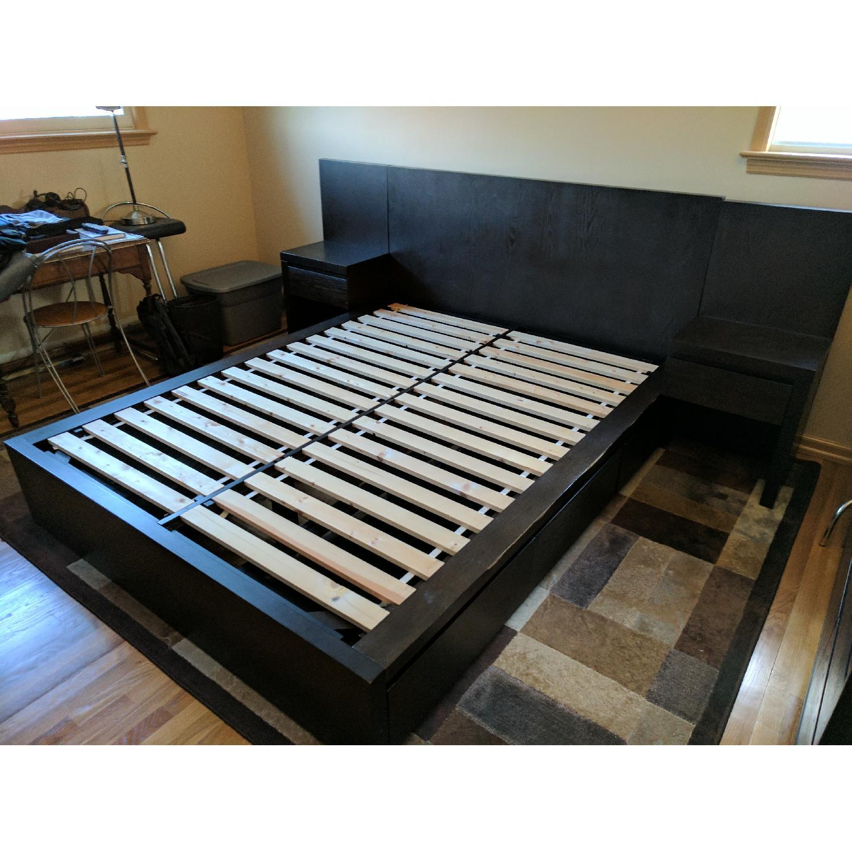 west elm storage queen size bed frames w headboard 2 nigh - Queen Size Bed Frame And Headboard