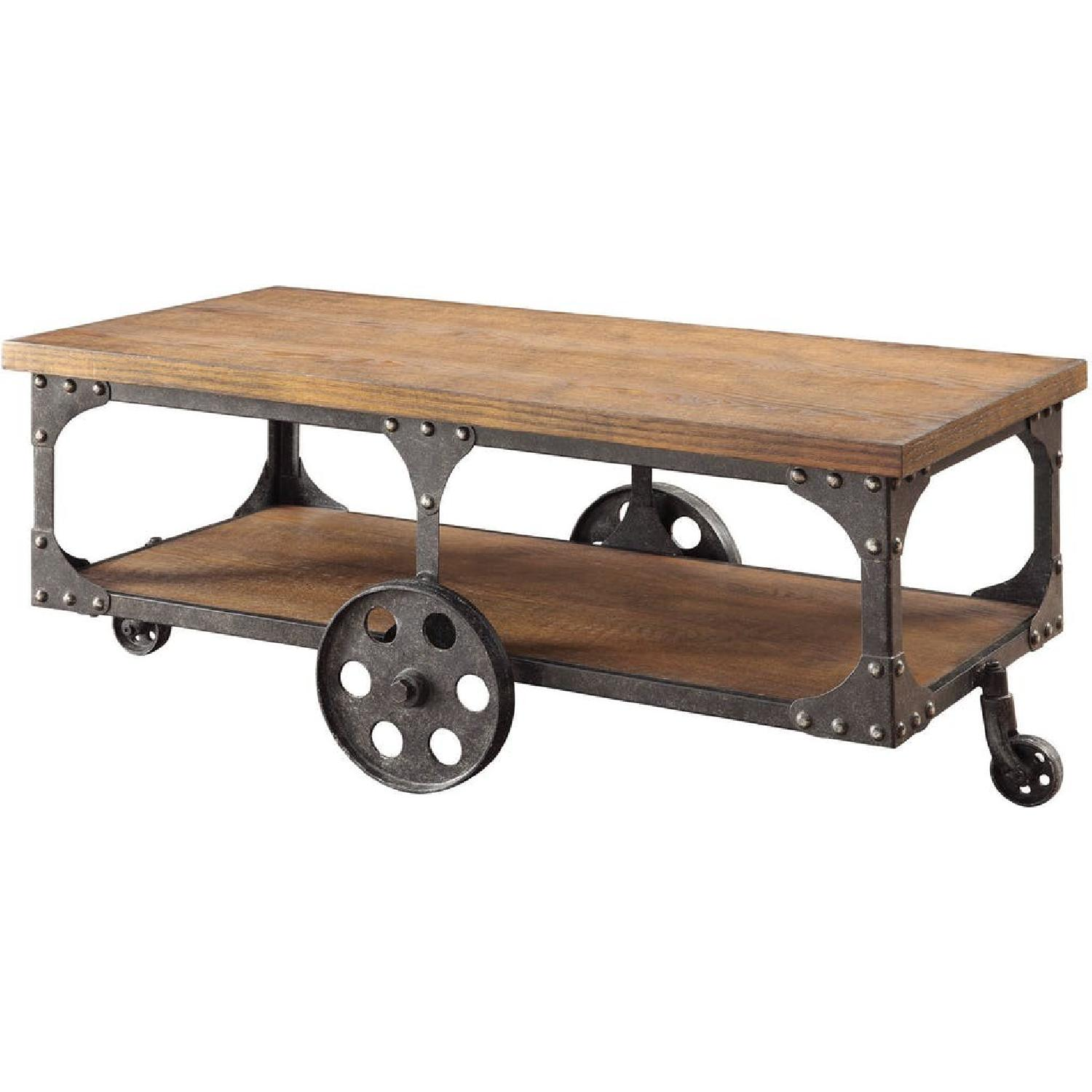 Rustic Brown Coffee Table w/ Metal Wheels - image-2