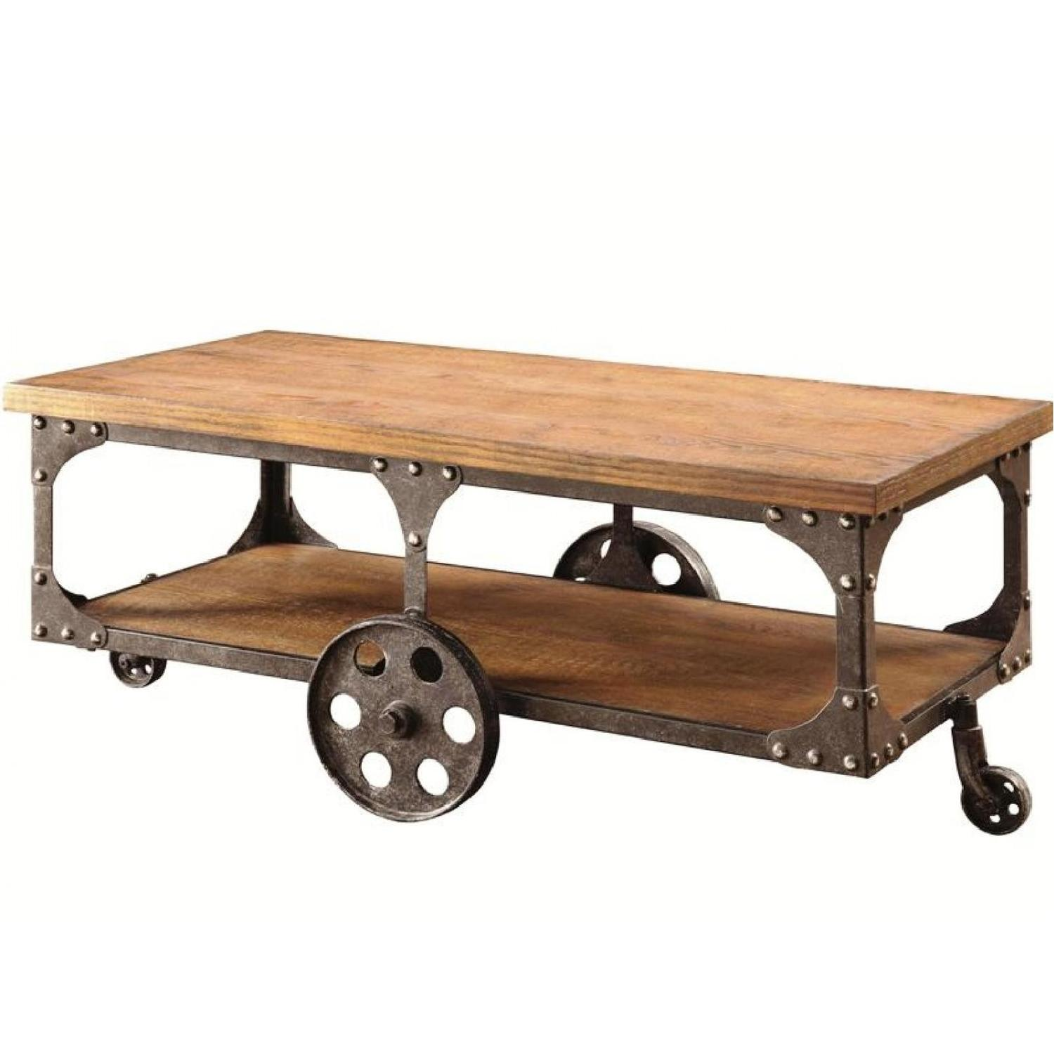 Rustic Brown Coffee Table w/ Metal Wheels - image-0