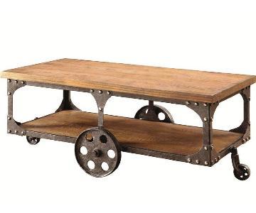 Rustic Brown Coffee Table w/ Metal Wheels