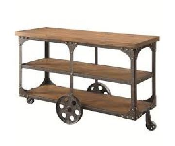 Rustic Brown Sofa Table w/ Metal Wheels