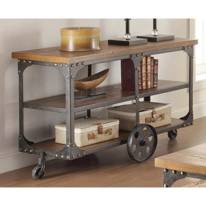 Rustic Brown Sofa Table w/ Metal Wheels - image-2