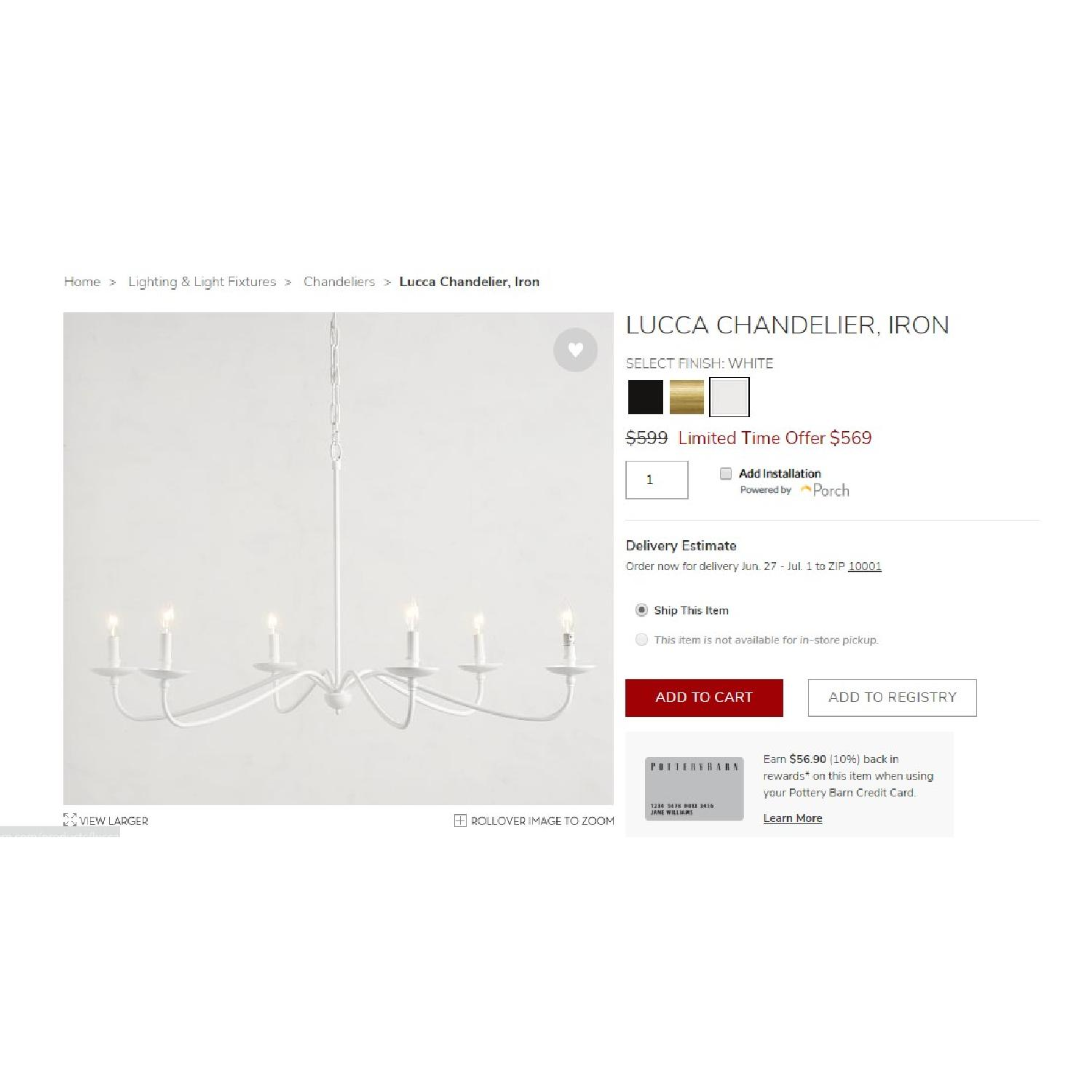 Pottery Barn Lucca Chandelier - image-1