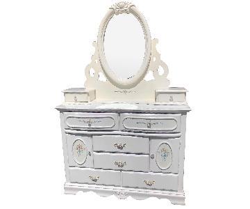 Coaster Furniture White Floral Dresser w/ Beverly Mirror