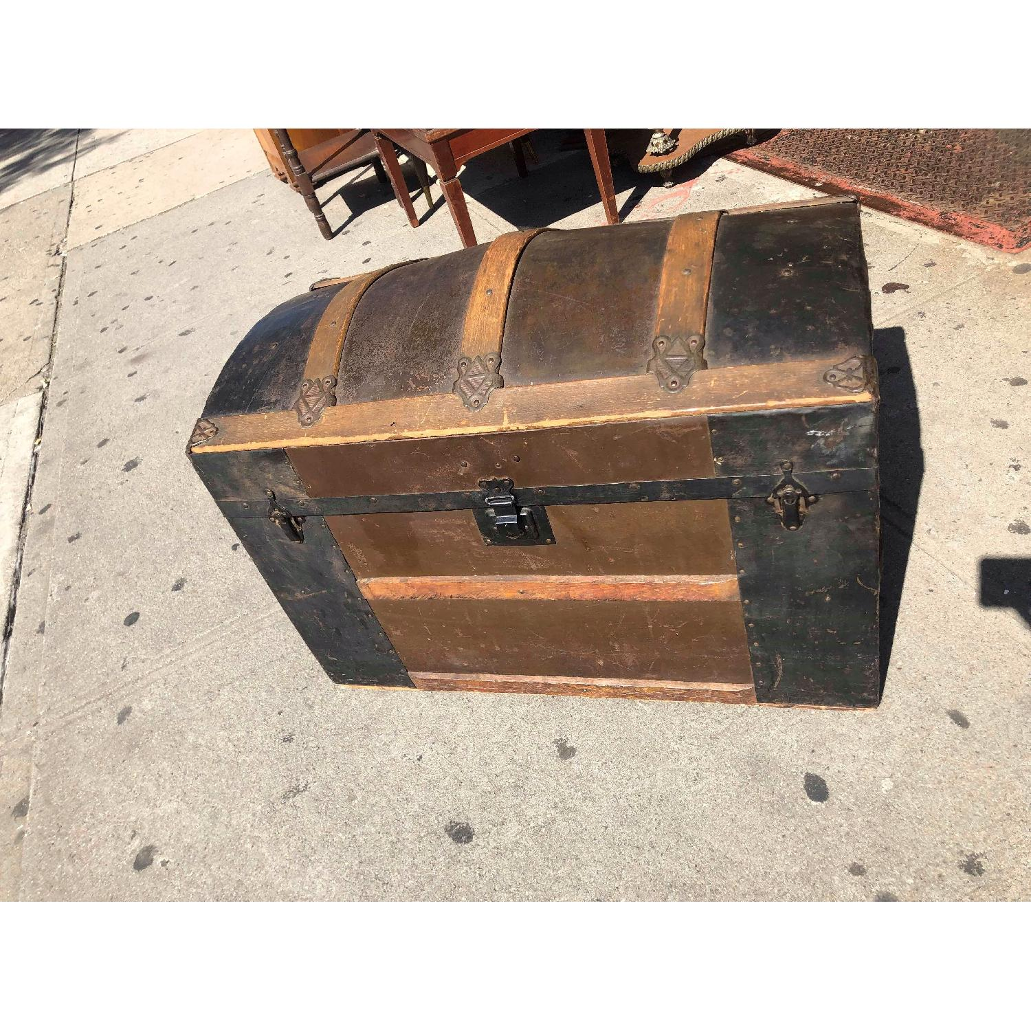 Antique 19th Century Dome Top Storage Trunk w/ Wheels - image-1