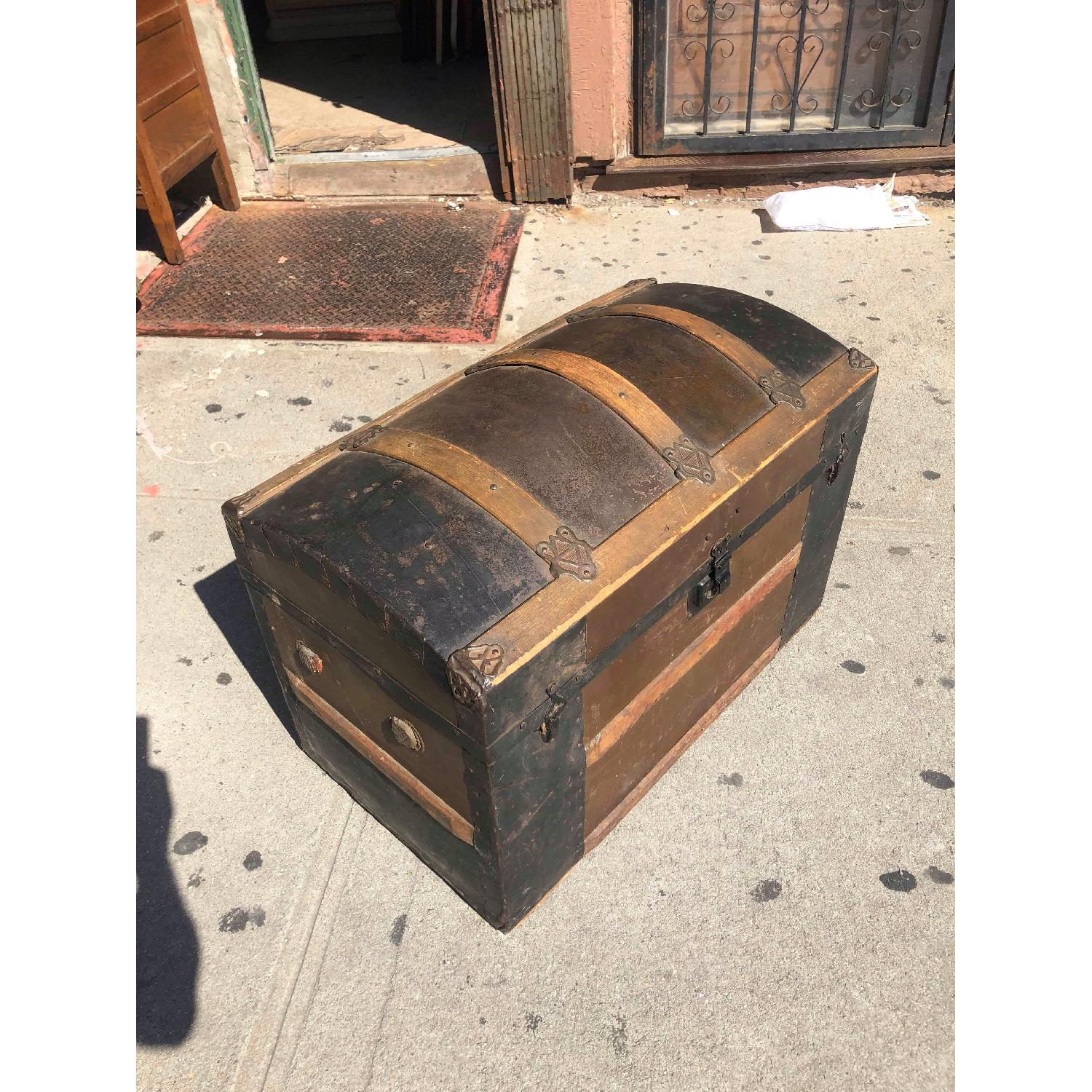 Antique 19th Century Dome Top Storage Trunk w/ Wheels - image-3