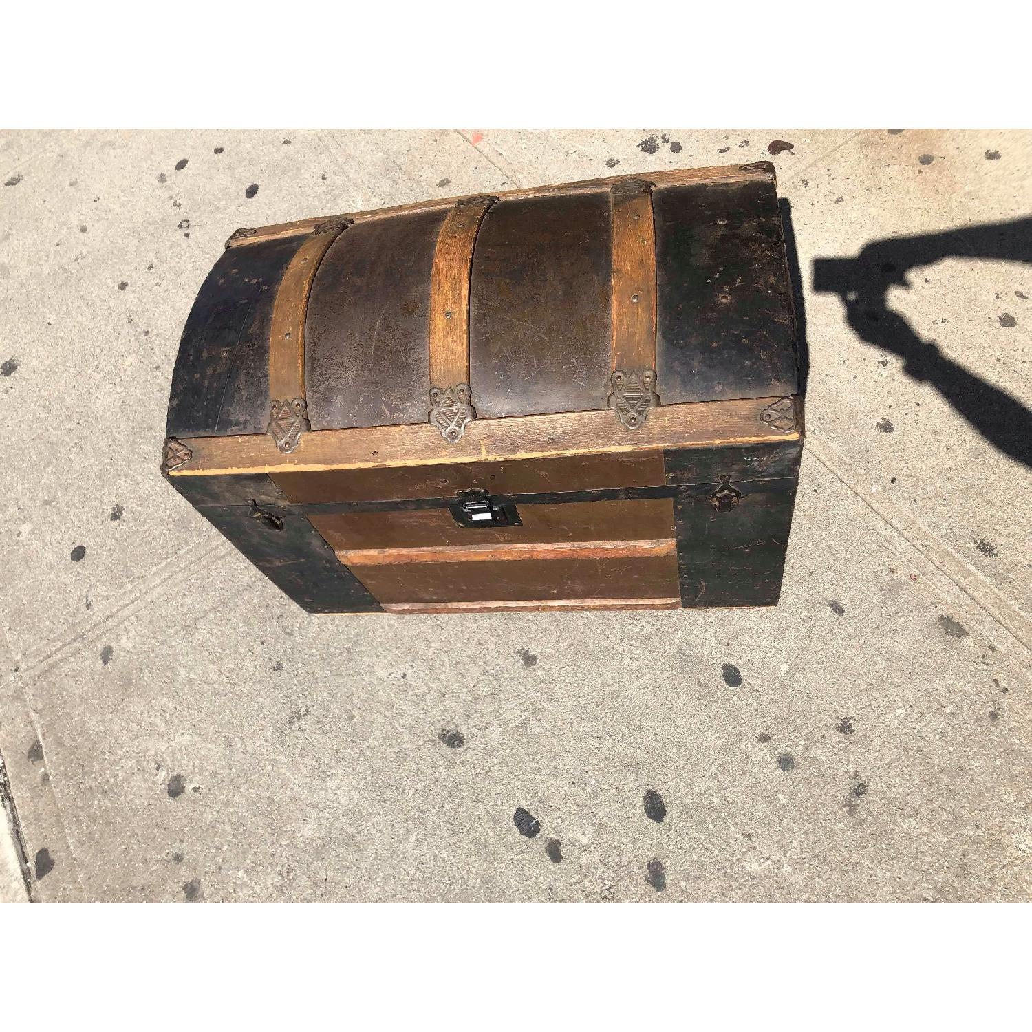 Antique 19th Century Dome Top Storage Trunk w/ Wheels - image-4