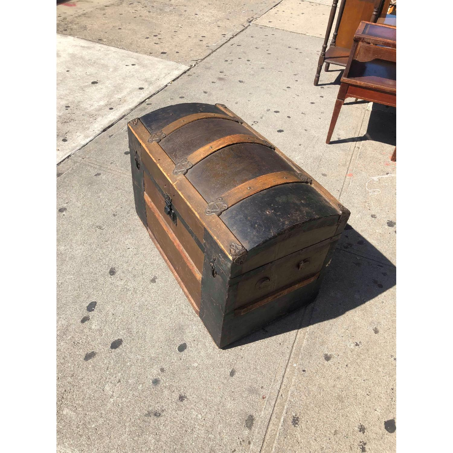 Antique 19th Century Dome Top Storage Trunk w/ Wheels - image-5