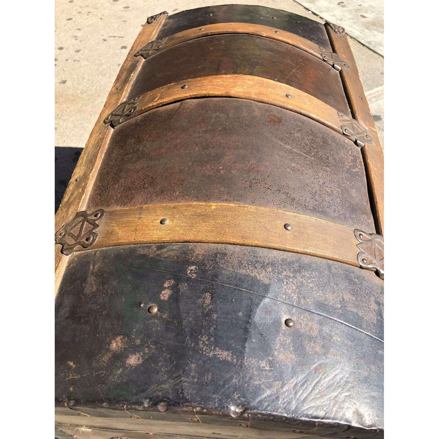 Antique 19th Century Dome Top Storage Trunk w/ Wheels - image-11