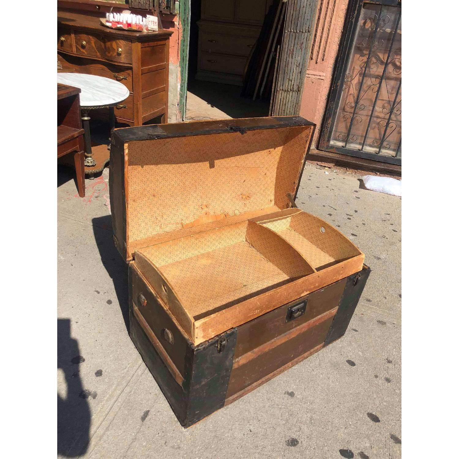 Antique 19th Century Dome Top Storage Trunk w/ Wheels - image-12