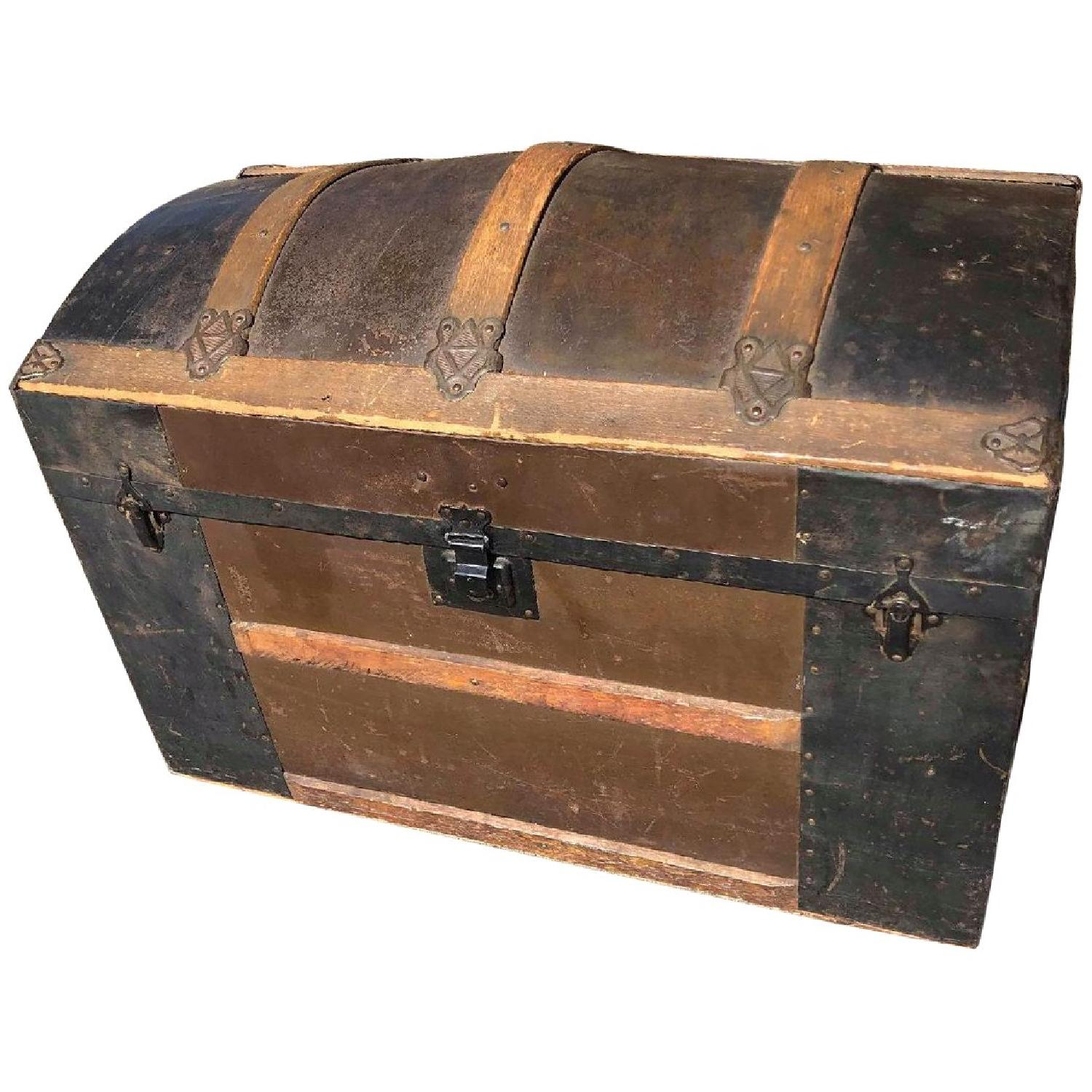 Antique 19th Century Dome Top Storage Trunk w/ Wheels - image-0