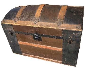 Antique 19th Century Dome Top Storage Trunk w/ Wheels