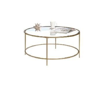 Ebern Designs Coffee Table w/ Glass Tray Top