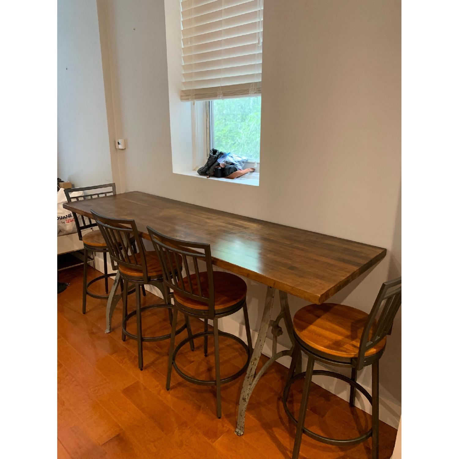Industrial Wooden Table w/ 4 Chairs - image-1