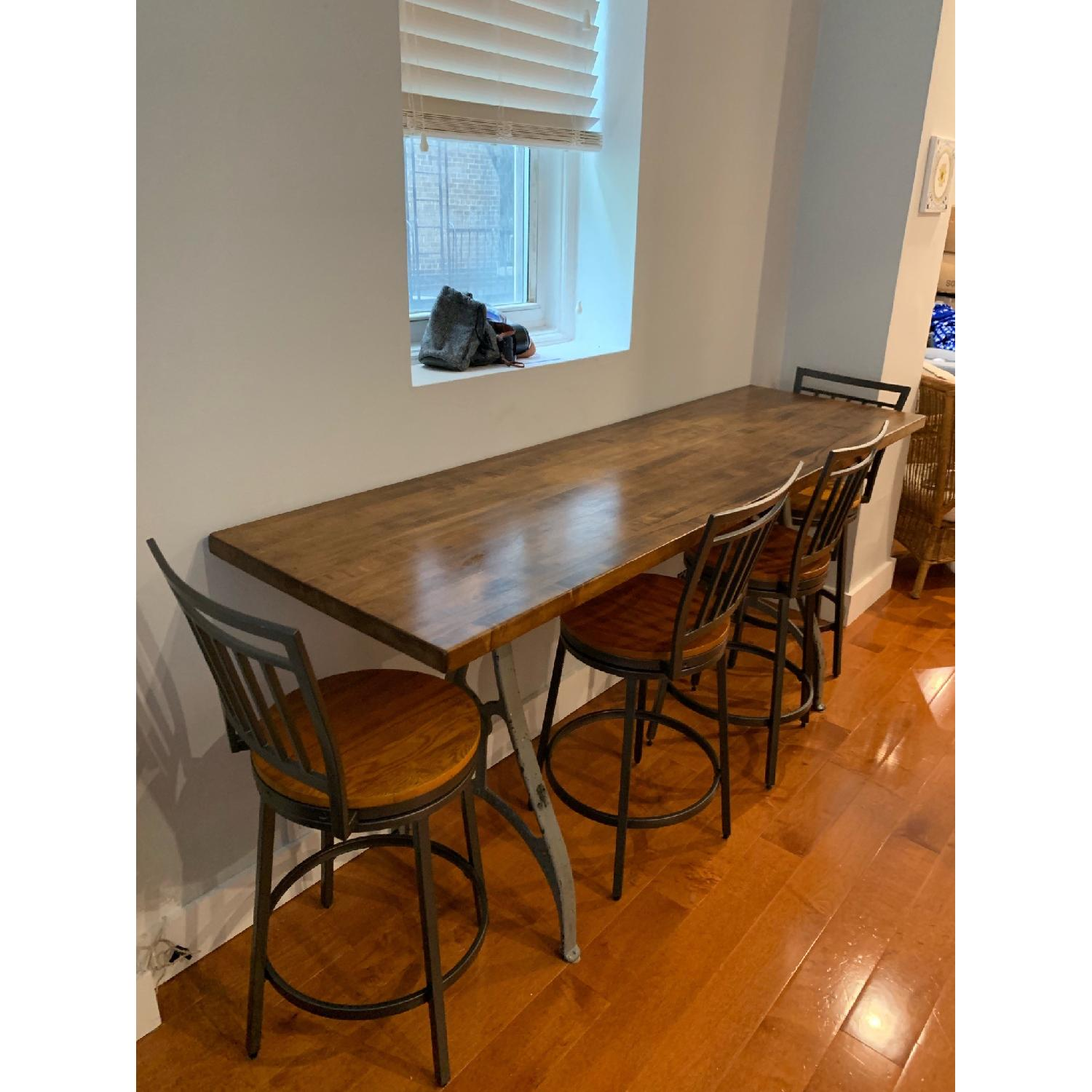 Industrial Wooden Table w/ 4 Chairs - image-3