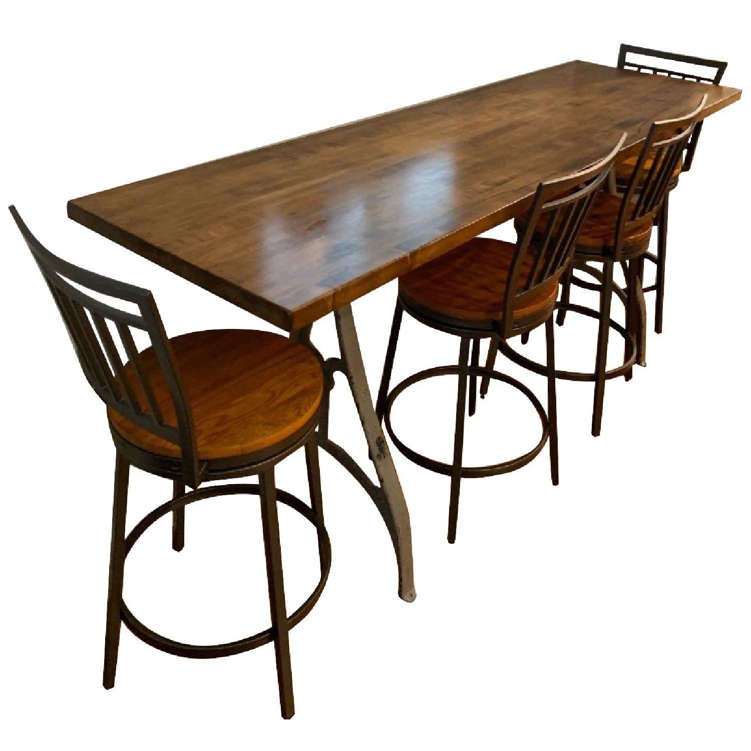 Industrial Wooden Table w/ 4 Chairs - image-0