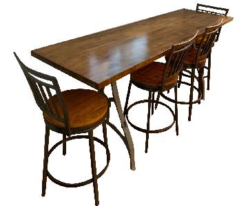 Industrial Wooden Table w/ 4 Chairs