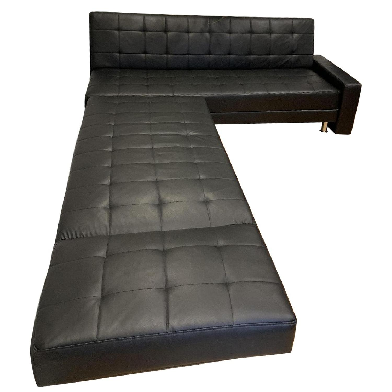 Black Leather Sectional Sofa - AptDeco