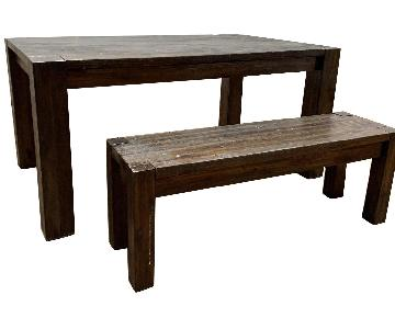 Wooden Dining Table w/ Matching Bench