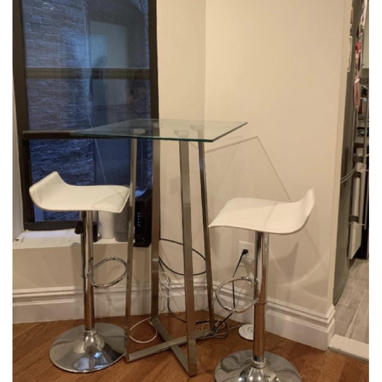 Modern Hydraulic Lift White Faux Leather Bar Stools - image-2