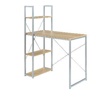 Convenience Concepts Natural Wood/Metal Office Desk