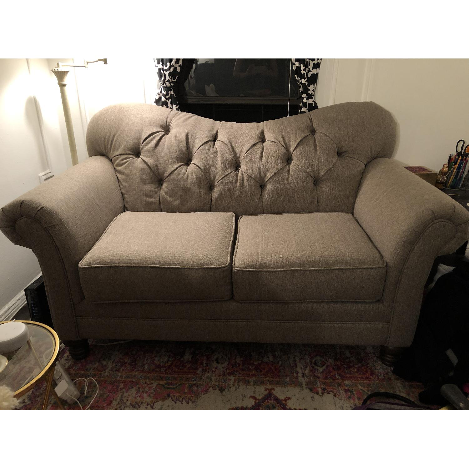 Gray/Natural Tufted Loveseat - image-1