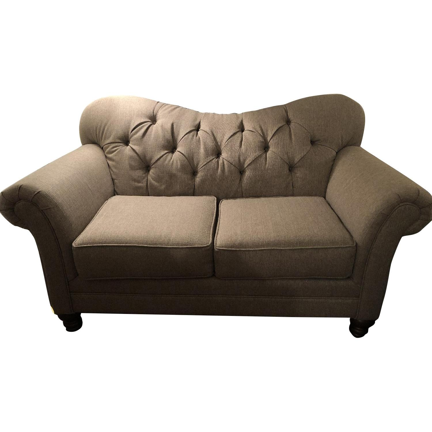 Gray/Natural Tufted Loveseat - image-0