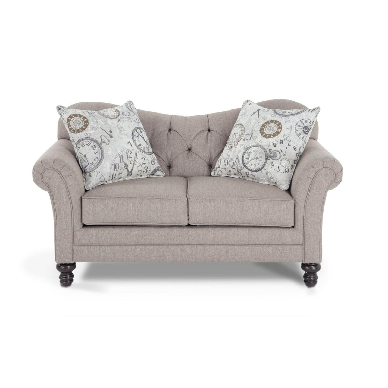 Gray/Natural Tufted Loveseat - image-4