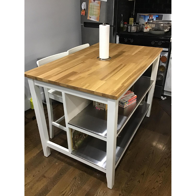 ikea stenstorp kitchen island w/ 2 stools - aptdeco