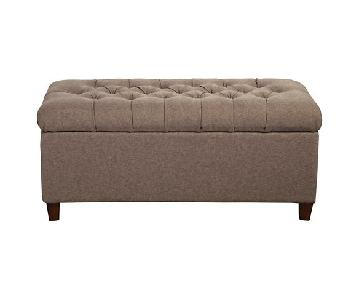 Tufted Brown Storage Bench
