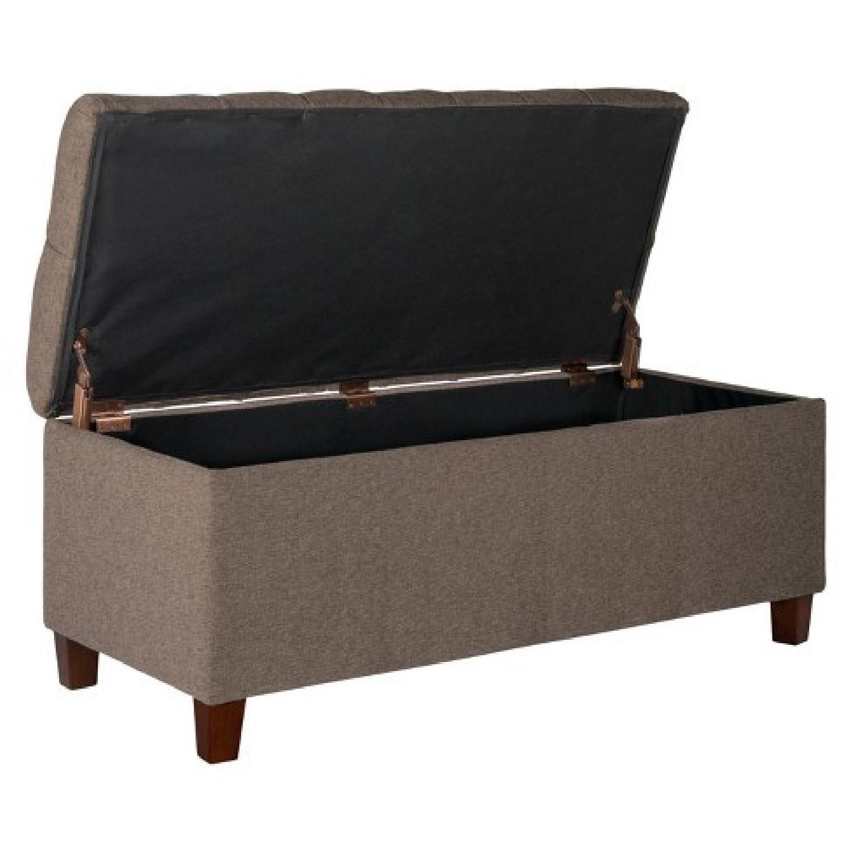 Tufted Brown Storage Bench