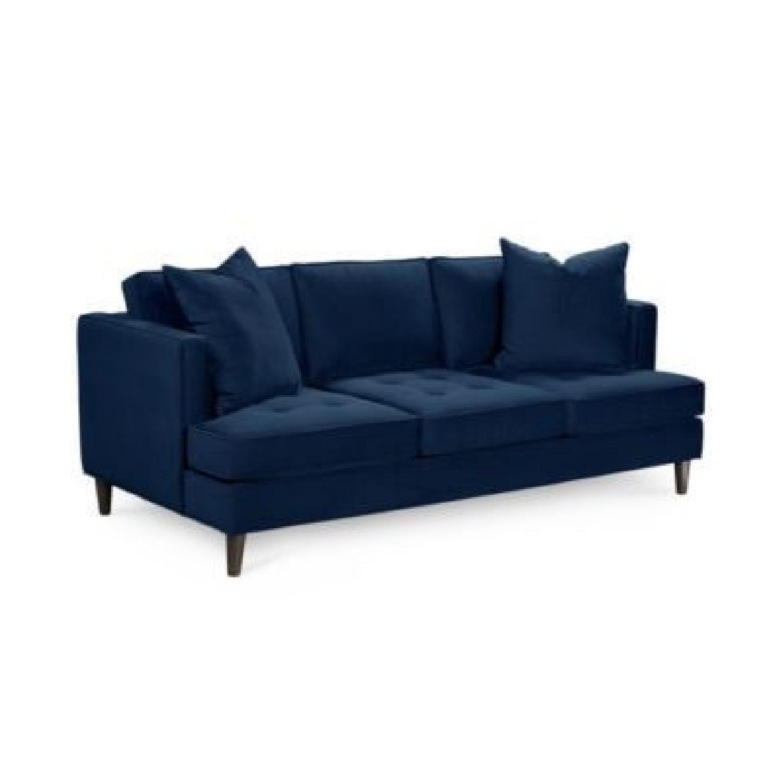 Macy\'s Blue Velvet Sofa - AptDeco