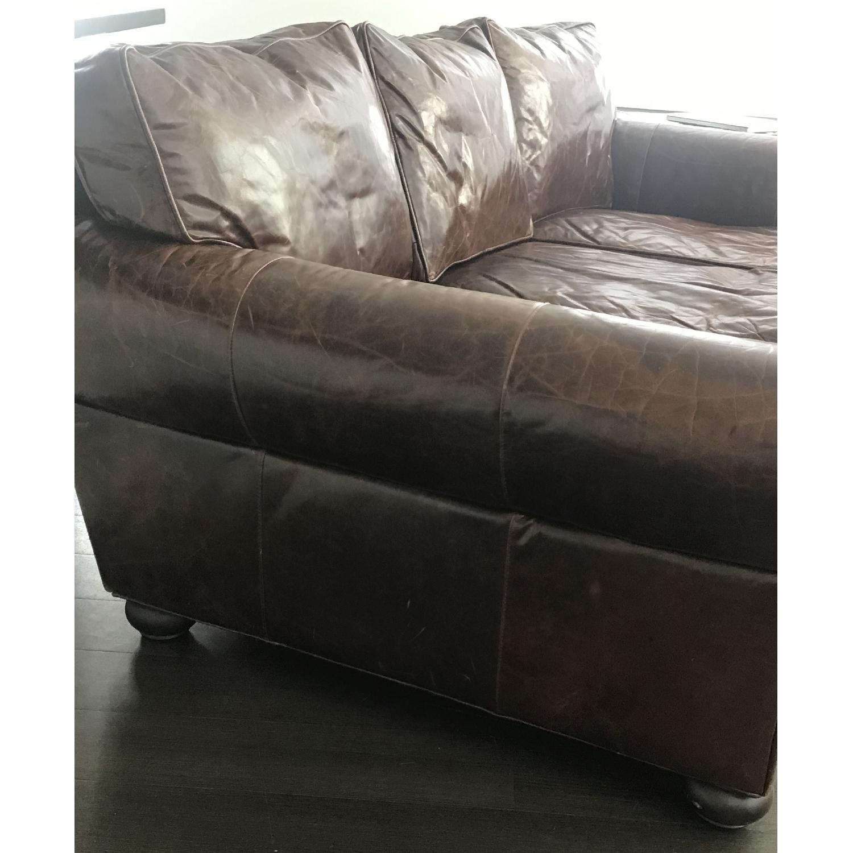 Restoration Hardware Lancaster Brompton Leather Sofa - image-2