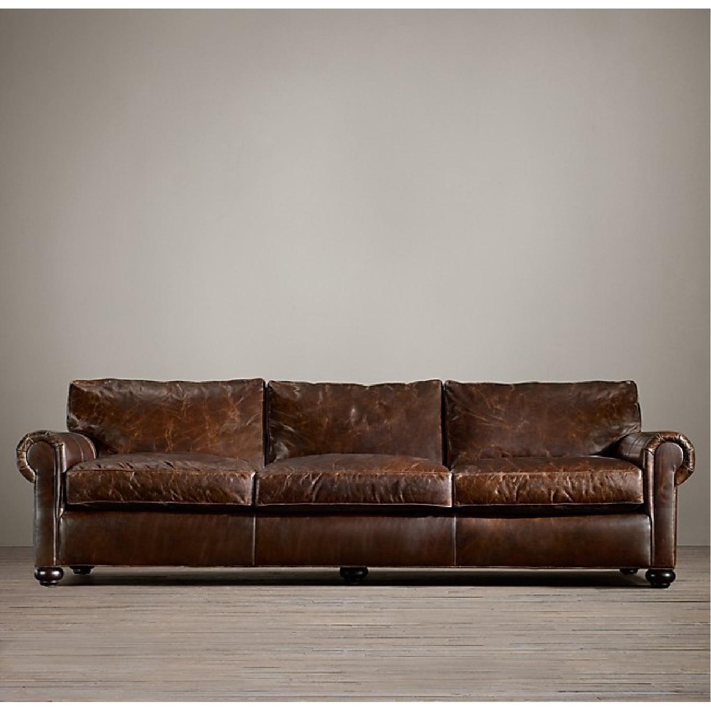 Restoration Hardware Lancaster Brompton Leather Sofa - image-4
