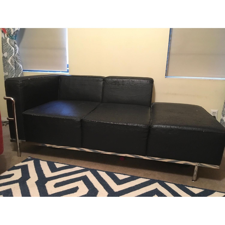 Black Faux Leather & Chrome Chaise - image-1