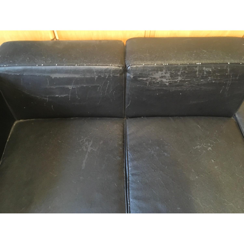 Black Faux Leather & Chrome Chaise - image-2