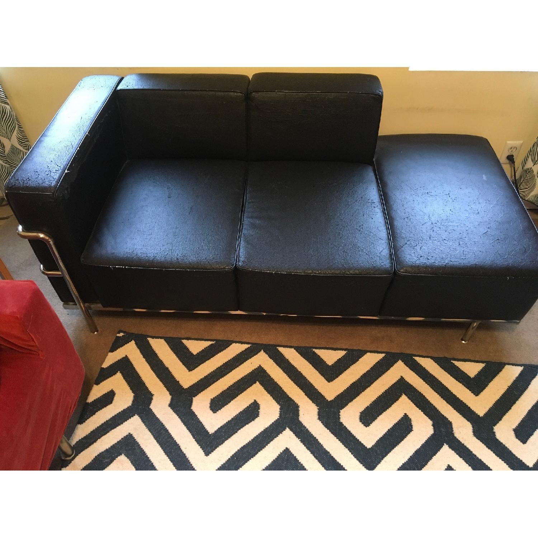 Black Faux Leather & Chrome Chaise - image-3