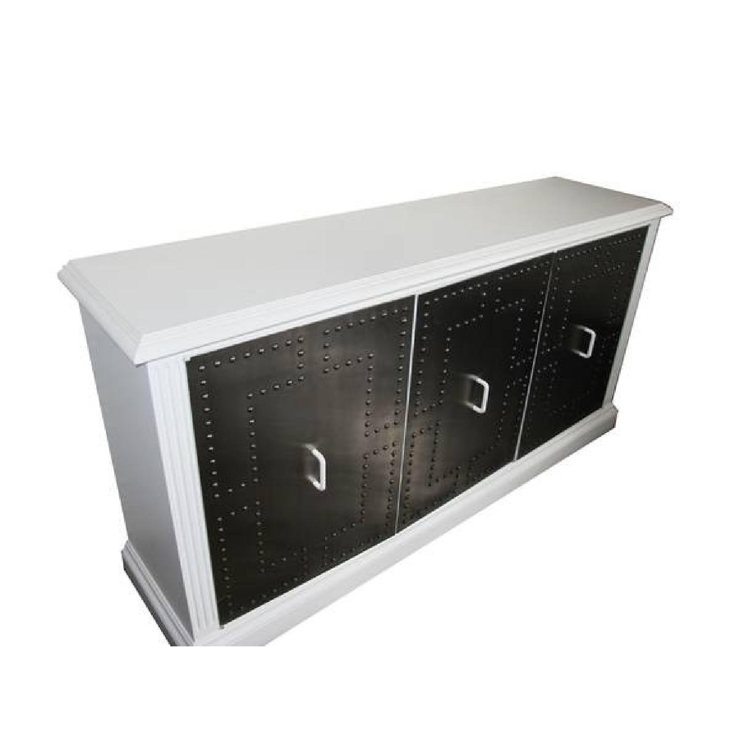 White Industrial Metal Credenza - image-0
