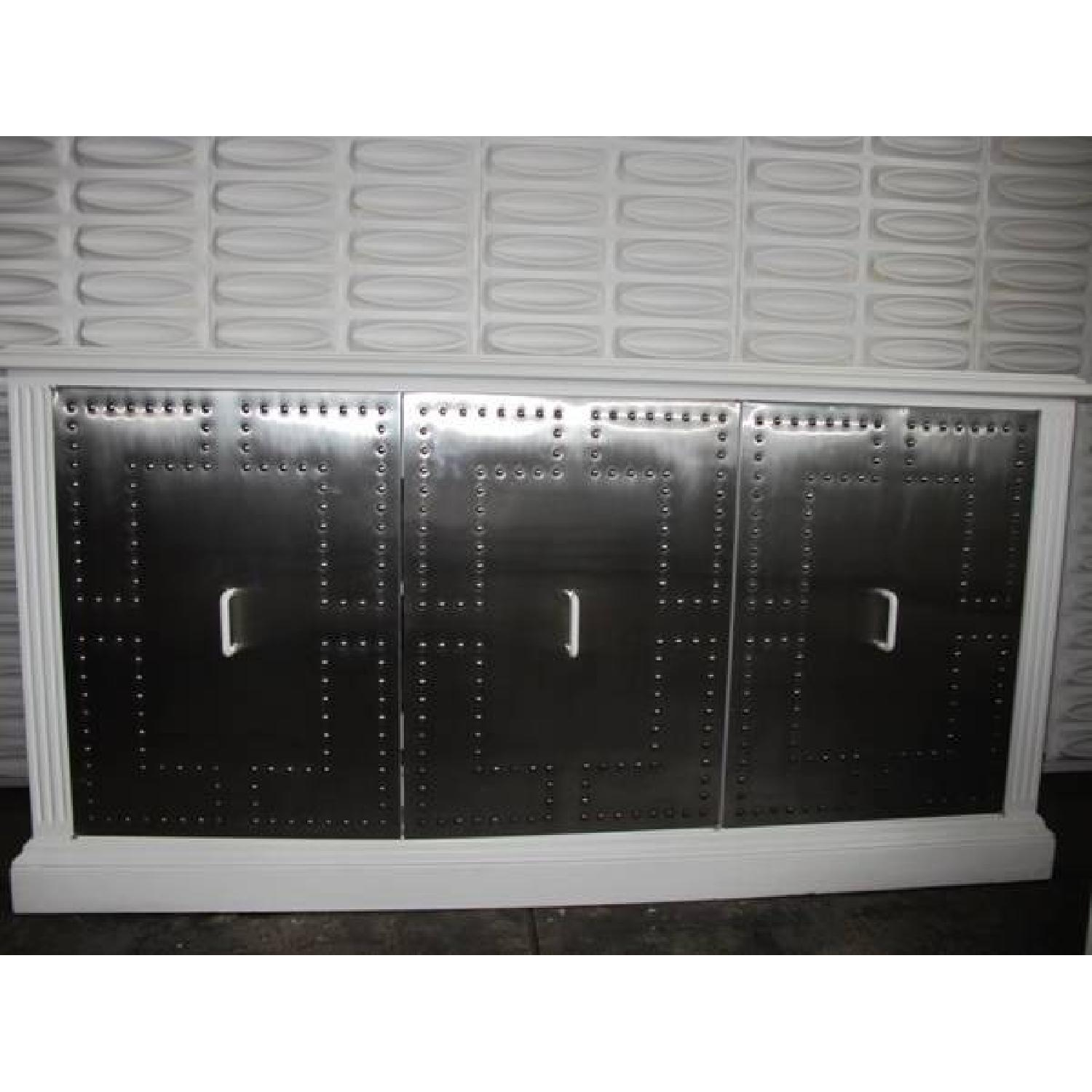 White Industrial Metal Credenza - image-5