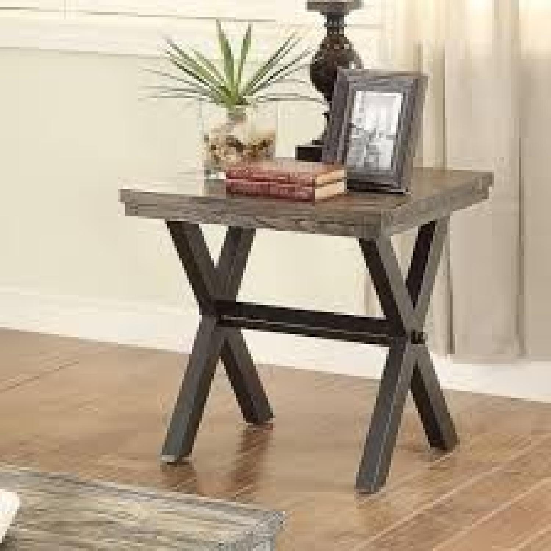 Dark Brown Wood Top End Table w/ Metal X Legs - image-1
