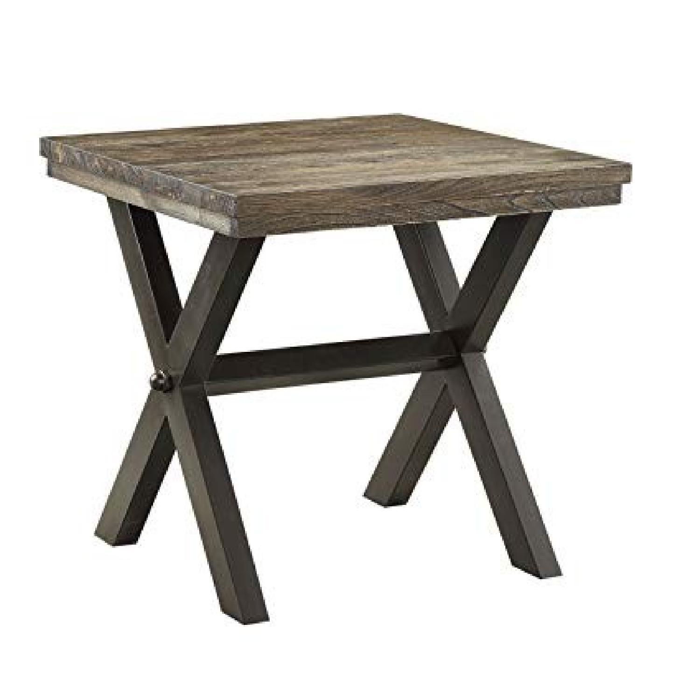 Dark Brown Wood Top End Table w/ Metal X Legs - image-0