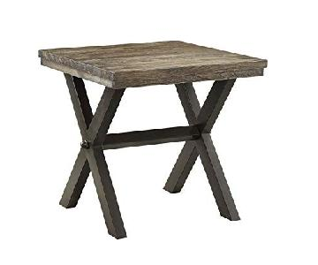 Dark Brown Wood Top End Table w/ Metal X Legs