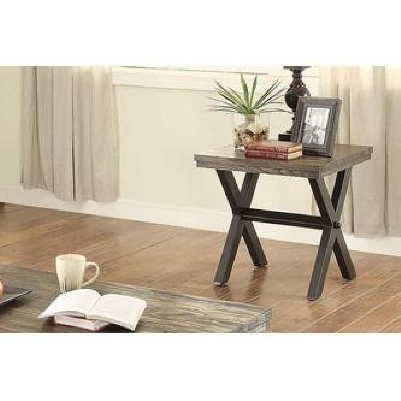 Dark Brown Wood Top End Table w/ Metal X Legs - image-2